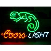 NEON SIGN For  COORS LIGHT CHAMELEON Signboard REAL GLASS BEER BAR PUB  display  Restaurant  Shop outdoor Light Signs 17*14""