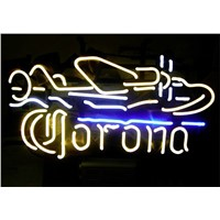 NEON SIGN For CORONA PLANE Signboard REAL GLASS BEER BAR PUB  display  RESTAURANT outdoor Light Signs 17*14""