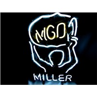 NEON SIGN For  MILLER LITE MGD  Signboard REAL GLASS BEER BAR PUB  display  RESTAURANT outdoor Light Signs 17*14""