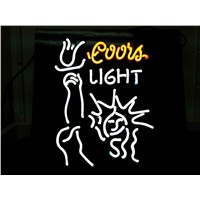 NEON SIGN For COORS LIGHT LIBERAL   Signboard REAL GLASS BEER BAR PUB  display  RESTAURANT outdoor Light Signs 17*14""