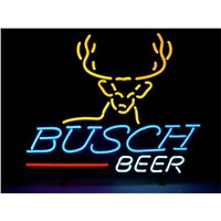 NEON SIGN For   BUSCH BEER Signboard REAL GLASS BEER BAR PUB  display  christmas Light Signs 17*14""