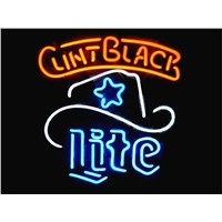 NEON SIGN For  MILLER LITE CLINT BLACK LOGO   Signboard REAL GLASS BEER BAR PUB  display  christmas Light Signs 17*14""