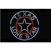 NEON SIGN For TEXAS LONE STAR Circles LOGO  Signboard REAL GLASS BEER BAR PUB  display  christmas Light Signs 17*14""