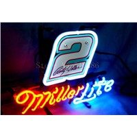 NEW NEON SIGN For Miller Lite Nascar #2 Ford Fusion Car  Real GLASS Tube BEER BAR PUB  store display  Shop Light Signs 17*14""