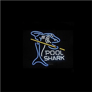 "17*14"" POOL SHARK NEON SIGN Signboard REAL GLASS BEER BAR PUB  Billiards display  Restaurant  Shop outdoor Light Signs"