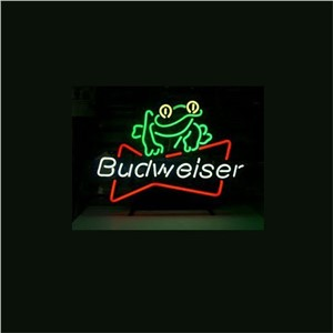 NEON SIGN For BUDWEISER BEER FROG Signboard REAL GLASS BEER BAR PUB  display  Restaurant  Shop outdoor Light Signs 17*14""