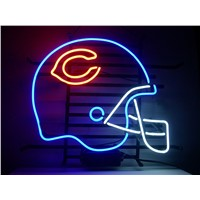 NEON SIGN For  CHICAGO BEARS FOOTBALL HELMET  SIGN Signboard REAL GLASS BEER BAR PUB  display   christmas Light Signs 17*14""