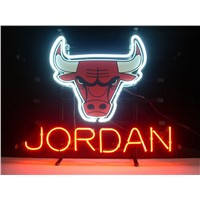 NEON SIGN For CHICAGO BULLS MICHAEL JORDAN  Signboard REAL GLASS BEER BAR PUB  display Restaurant  outdoor Light Signs 17*14""