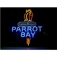 NEON SIGN For CAPTAIN MORGAN PARROT BAY SPICED RUM Signboard REAL GLASS BEER BAR PUB  display  Shop christmas Light Signs 17*14""