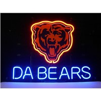 NEON SIGN For  LED CHICAGO BEARS DA BEARS FOOTBALL Signboard REAL GLASS BEER BAR PUB  display   christmas Light Signs 17*14""