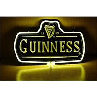 NEON SIGN For New Guinness 1759 Logo   Signboard REAL GLASS BEER BAR PUB  display  outdoor Light Signs 17*14""
