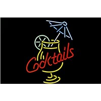 NEON SIGN For  Cocktail  Martini Umbrella Cup  Signboard REAL GLASS BEER BAR PUB  display  RESTAURANT outdoor Light Signs 17*14""