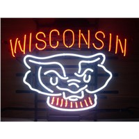 NEON SIGN  WISCONSIN BADGERS   Signboard REAL GLASS BEER BAR PUB  display  christmas Light Signs 17*14""