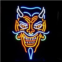 NEON SIGN for skull  avatar Grimace and avatar   REAL GLASS BEER BAR PUB  display  Light Signs Signboard   Store Shops 19*15""