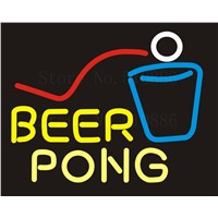 NEON SIGN For Maitini Bar Open Cave Wine&Beer Pong Real GLASS Tube Beer PUB Restaurant Signboard display Shop Light Signs 17*14""