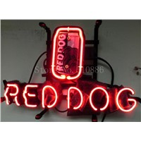 NEON SIGN For American Red Dog Beer Miller Brewing Brand Garage  GLASS Tube BEER BAR PUB  store display  Shop Light Signs 17*14""