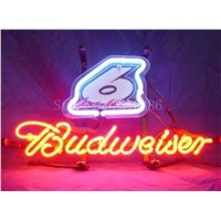 NEON SIGN For Budweiser Nascar signed number #6  Business  Real GLASS Tube BEER BAR PUB  store display  Shop Light Signs 17*14""