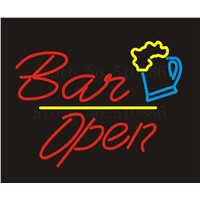 NEON SIGN For  Open Bar cakes Wine  Real GLASS Tube Beer PUB Restaurant Signboard store display Shop Light Signs 17*14""
