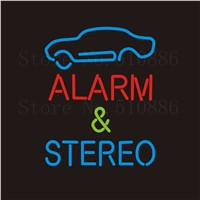 NEON Sign For Auto Alarm&Stereo Real GLASS Tube Bar  Food Club PUB Car Signboard Display Store Shop Light Custom Signs 17*14""