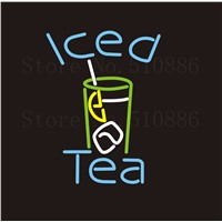 NEON Sign Iced Tea Drink Real GLASS Tube Bar  Food Club PUB Restaurant Signboard Display Store Shop Light Custom 17*14""