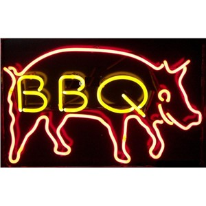 "17*14"" BBQ Pig Meat  christmas NEON SIGN Signboard REAL GLASS BEER BAR PUB  Billiards  store display  Restaurant  Shop Signs"