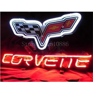 NEON SIGN For Chevrolet Corvette Sports Car Brand Real GLASS Tube BEER BAR PUB  store display  Shop Light Signs 17*14""
