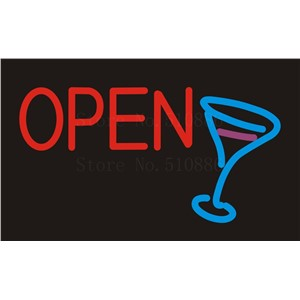 NEON SIGN For Open Martini Bar Cup Wine  Real GLASS Tube Beer PUB Restaurant Signboard store display Shop Light Signs 17*14""