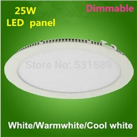 Freeship 30pcs/lot  Dimmable 25W LED panel 25w ceiling downlight / AC85-260V led panel by DHL / Fedex