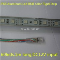 1M long IP68 Aluminum Led RGB color Rigid Strip;60leds;DC12V input;rigid bar