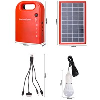 Portable Large Capacity Solar Power Bank Panel 2LED solar lamp USB Cable Battery Charger Emergency Lighting System for camping