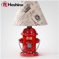 Hoshine  New Design Art Decor Table Lamp for Bedroom Home Bedding Retro Accent Lights Fabric Lampshade Knob Swich