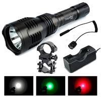 Uniquefire HS-802 XRE White / Green / Red Light Hunting Flashlight Kit :Tactical Torch +Rat Tail+Gun Mount+Charger