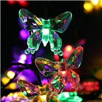 LMID Outdoor Lighting  Colorful Decoration Butterfly Luz Garland Waterproof Christmas Garden Outdoor Solar Lamp LED String