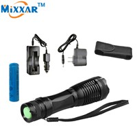 RUzk10 LED flashlight  torch XML-T6 8000LM  Focus lamp Zoomable lights + DC/Car Charger  +  1*18650 5000mAh battery + Holster