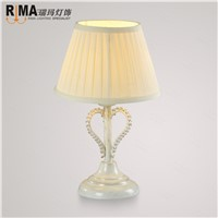 cream fabric shade table lamp for bedroom decorative lights led bulb included
