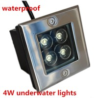 2PCS 4W Square LED underground lamps Buried light outdoor light ground floor recessed lamp 110V 220V  ground buried light