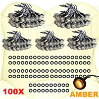 "Tkeapl THTMH 100X Mini Amber 3/4"" 0.75 inch Round Side Truck 3 LED Marker Trailer Bullet Clearance License Clear Light Lamp"