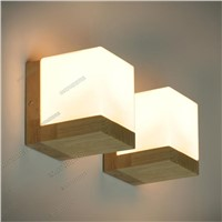 Modern Minimalist Wall Lamp Nordic Style oak Wood glass 90-260V E27 Holder Bedroom Restaurant  lamp