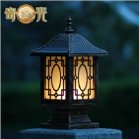 Chinese traditional lantern decorative aluminum spotlight fitting outdoor lamp post lights garden columns pillar wall mount