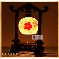 Jingdezhen ceramic table lamp chinese style classical bedside lighting antique wooden lamps 8024