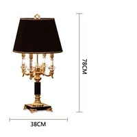 black shade luxruy E14 candle k9 crystal table lamp fashion europe table lamp living room/bedroom lamp brief bed-lighting