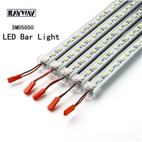 RAYWAY led strip bar 5pcs*50cm led rigid strip DC 12V SMD 5050 LED Hard Rigid LED Strip Bar Light  for canbinet 12V 5A Adapter