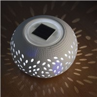 Hot Sale LED Lighting Solar LampsFiligree LED Solar Color Changing Ceramic Sun Powered Globe Ball Table Light Garden Lamp