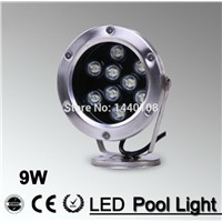 5pcs/lot  9W LED Fountain lamp dmx 512 control Stainless steel IP68 AC12V AC24V Swimming Pool/Ponds/Fountain rgb color
