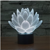 Lotus flower touch switch LED 3D lamp ,Visual Illusion  7color changing 5V USB for laptop,  desk decoration toy lamp