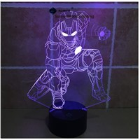 Iron Man  switch LED 3D lamp ,Visual Illusion  7color changing 5V USB for laptop,  desk decoration toy lamp
