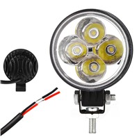 12W Round LED Work Lights Waterproof Spot Flood Light Beam DC 12V Worklight for Offroad Construction ATV Truck Trailor Tractor