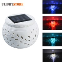 Filigree LED Solar Power Light Color Changing Ceramic Sun Powered Globe Ball Garden Yard Table Lamp for Party Holiday Decoration