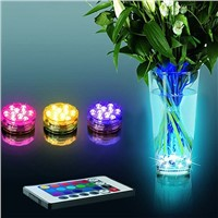 Multi Color Submersible 10 LED RGB Light Party Vase Underwater Waterproof Remote Control Lamp