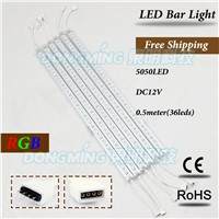 10pcs/lot 36Leds 50cm LED bar light 5050SMD With Aluminum U profile + Cover LED Hard luces Strip kitchen led under cabinet light
